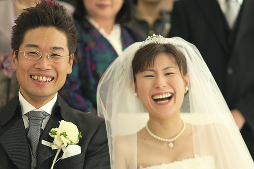 happy smile wedding couple