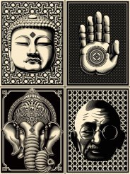 ganesh gandhi buddha hand graphic